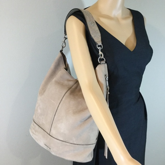 88aeb5cc542 Rebecca Minkoff Nubuck Leather Bucket Hobo